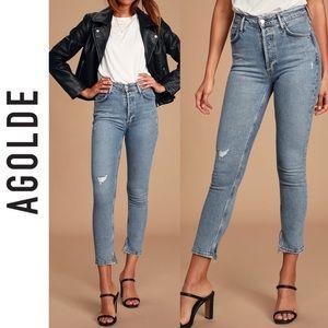 🆕 AGOLDE Nico High Rise Light Blue Skinny Jeans